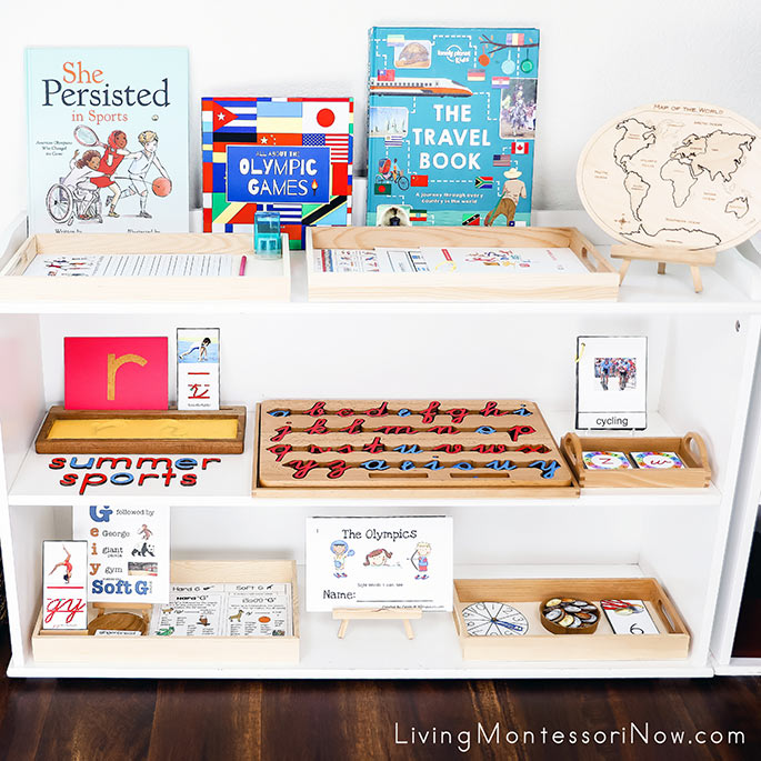 Montessori Shelves with Summer Sports Themed Activities