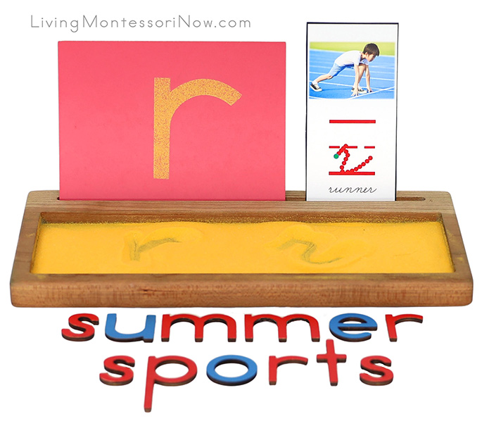 R for Runner Salt Writing Tray with Summer Sports Movable Alphabet Spelling