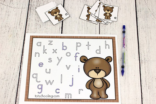 Teddy Bear ABC Match and Trace from Totschooling