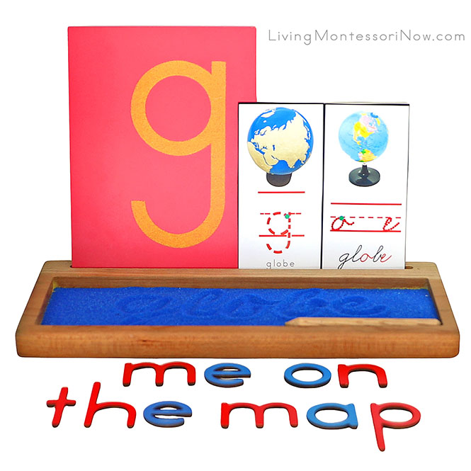 G for Globe Sand Writing Tray with Me on the Map Movable Alphabet Spelling