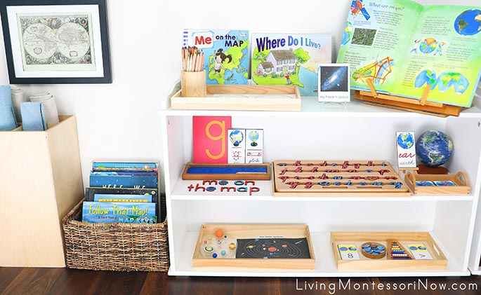 Montessori Book Basket and Shelves with Me on the Map Themed Activities