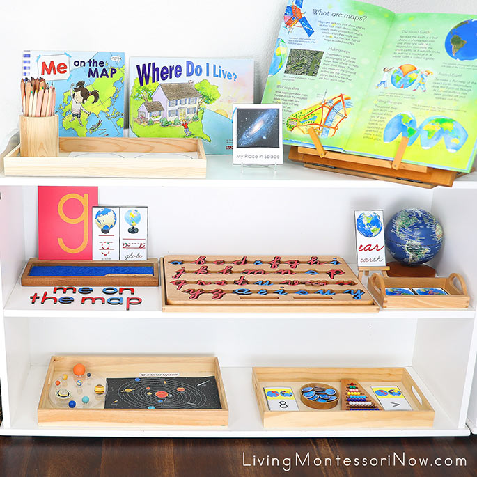 Montessori Shelves with Me on the Map Themed Activities