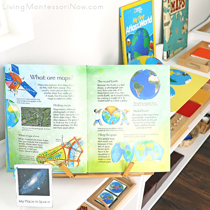 Usborne Children's Picture Atlas Book with Personalized My Place in Space Booklet and Other Geography Materials