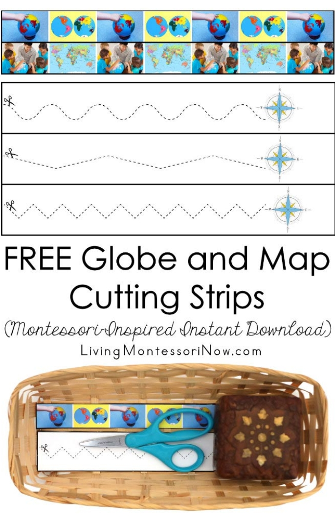 FREE Globe and Map Cutting Strips (Montessori-Inspired Instant Download)