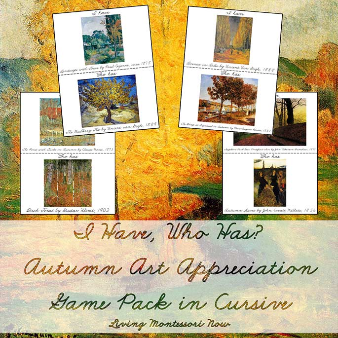 I Have, Who Has Autumn Art Appreciation Game Pack in Cursive