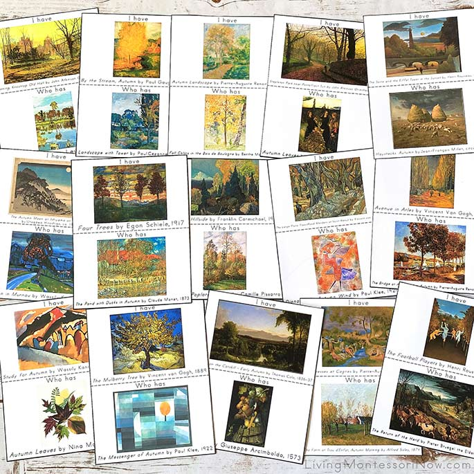 Sample Cards from I Have, Who Has Autumn Art Appreciation Games
