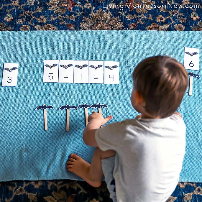 Working with 6 Little Bats Song and Puppet Subtraction Activity