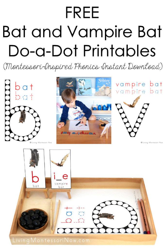 FREE Bat and Vampire Bat Do-a-Dot Printables (Montessori-Inspired Phonics Instant Download)